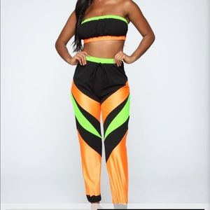 Fashion Nova Black and Neon Set (pants and top)